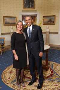 Federica Mogherini and Barack Obama at the White House