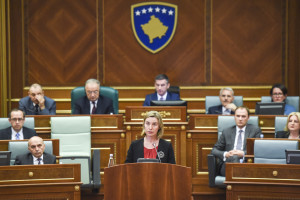 EU High Representative Federica Mogherini addresses members of the Kosovo parliament during a session in Pristina on May 5, 2016.
